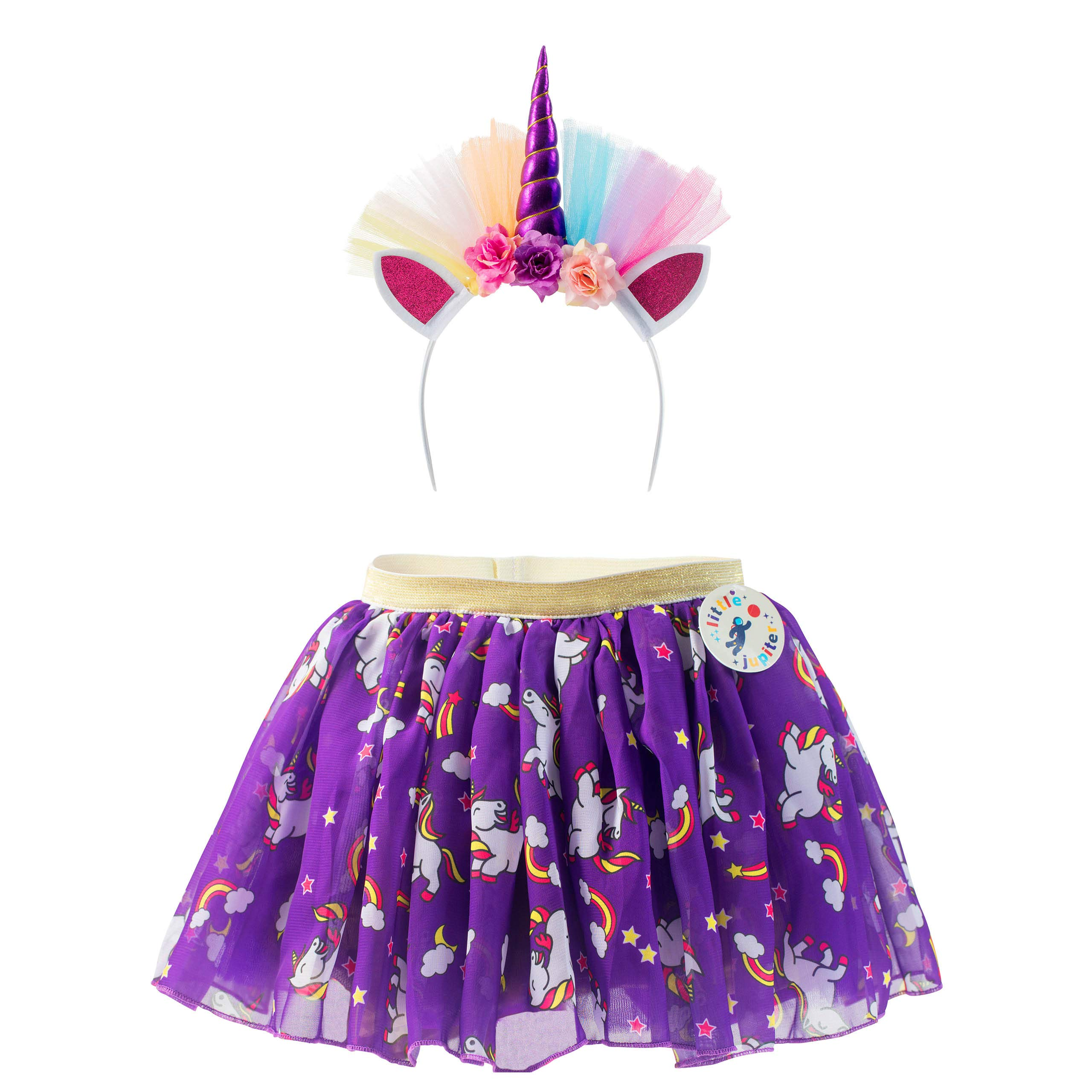 Unicorn Dress & Hairband Dress Up Set For Girls Ages 2 - 3 - 4 - 5 - 6 - 7 & 8