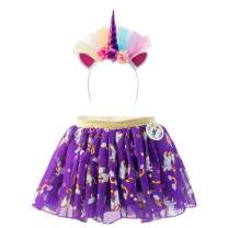 Unicorn Dress & Hairband Dress Up Set For Girls Ages 2 - 3 - 4 - 5 - 6 - 7 & 8