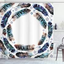"""Ambesonne Ethnic Shower Curtain, Spiral Vortex Concentric Form Design Feather with Curved Little Stars Image, Cloth Fabric Bathroom Decor Set with Hooks, 84"""" Long Extra, Purple Teal"""