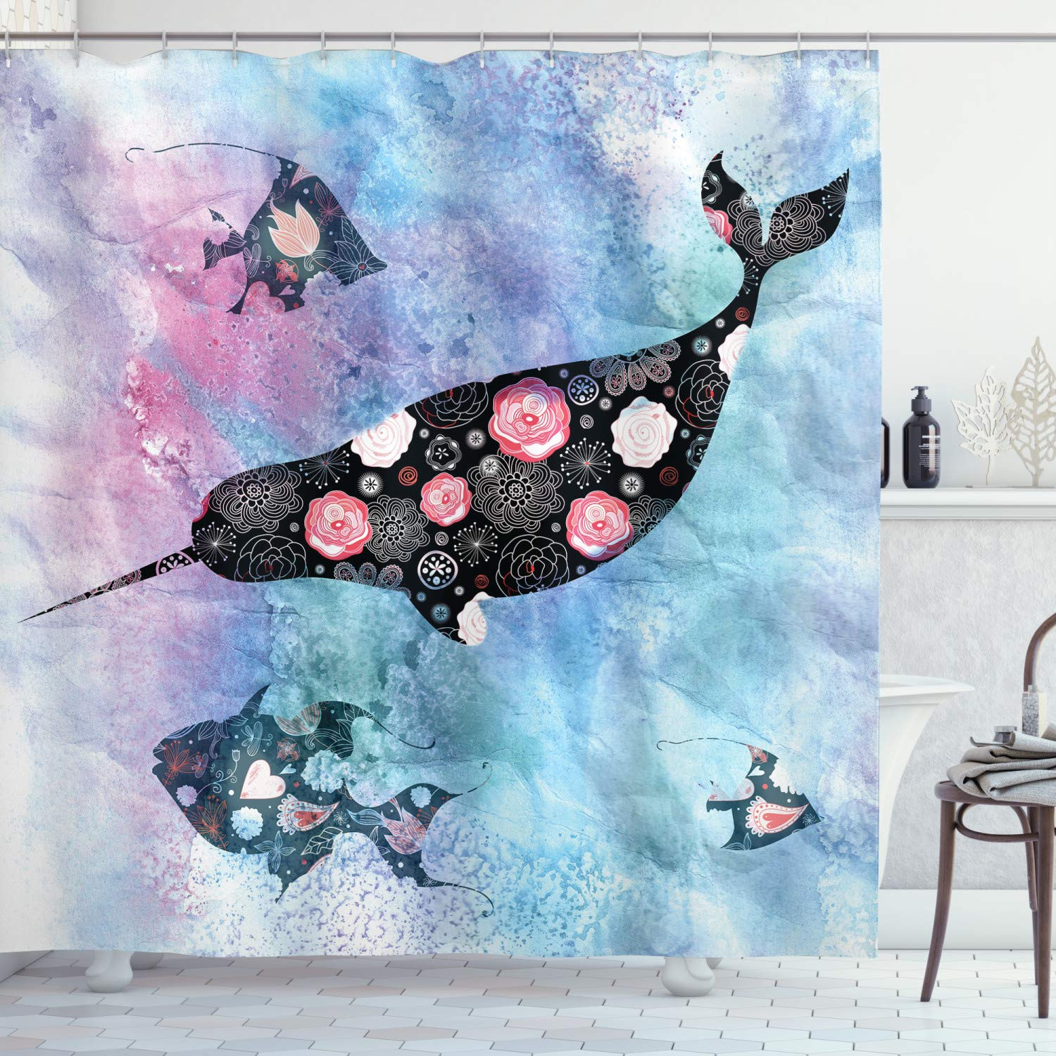 """Ambesonne Narwhal Shower Curtain, Floral Patterned Narwhal Whale and Fish Psychedelic with Abstract Art Inspirations, Cloth Fabric Bathroom Decor Set with Hooks, 84"""" Long Extra, Purple Blue"""