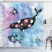 """Ambesonne Narwhal Shower Curtain, Floral Patterned Narwhal Whale and Fish Psychedelic with Abstract Art Inspirations, Cloth Fabric Bathroom Decor Set with Hooks, 70"""" Long, Purple Blue"""