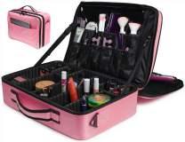 "Addie Rose Makeup Bag Organizer Train Case | PINK or BLACK | 16.5"" LARGE 3-Layer Cosmetic Case | Professional Makeup Case | EXCLUSIVE Front Pocket | 2 Lid Straps | 27 Storage Areas | PINK"