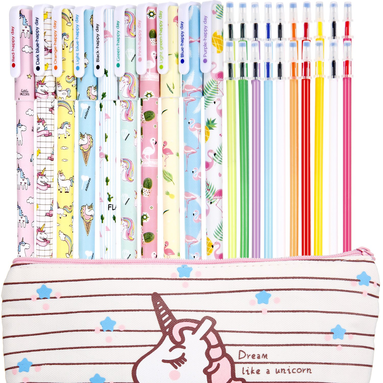 Jetec 10 Pieces Cute Gel Ink Pens Plus Unicorn Pencil Case pouch 20 Pieces Color Refill Ink, Fine Point (0.5 mm) Pen, Unicorn School Supplies for Girls(Style A)
