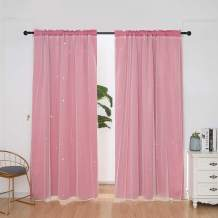 Star Curtains Stars Blackout Curtains for Kids Girls Bedroom Living Room Double Layer Star Cut Out Solid Window Curtains Rod Pocket Treatment Drapes Panels Set 54x84'' 2pc ( 108x84 ) (Light Pink)