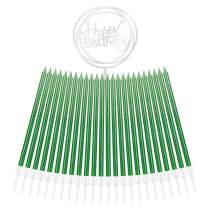 Gesentur Birthday Candles 24 Count Gold Long Thin Cake Candles in Holders with Happy Birthday Cake Topper for Birthday Wedding Christmas Cupcake Decoration (Green)