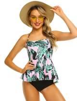 ADOME Tummy Control Tankini Swimsuits for Women 2 Pcs Swimsuit Set Floral Print Ruffle Halter Swimwear