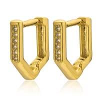 AOZEL Geometric Pentagon Cubic Zirconia Small Hoop Earrings for Women
