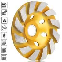 "SUNJOYCO 4"" Diamond Cup Grinding Wheel, 12-Segment Heavy Duty Turbo Row Concrete Grinding Wheel Angle Grinder Disc for Granite Stone Marble Masonry Concrete"