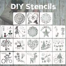 Journal Kit Stencil Set,18 Pcs DIY Planner Stencils Accessories Template for Art Drawing Painting, Mandala, Love, Spraying Window Glass Door Car Body Wood Journaling Scrapbook