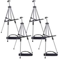 """U.S. Art Supply 66"""" Sturdy Silver Aluminum Tripod Artist Field and Display Easel Stand (Pack of 4) - Adjustable Height 20"""" to 5.5 Feet, Holds 32"""" Canvas - Floor and Tabletop Displaying, Portable Bag"""