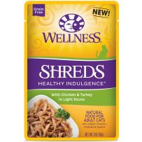 Wellness Healthy Indulgence Natural Grain Free Wet Cat Food Pouches Shreds Chicken & Turkey