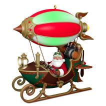 Hallmark Christmas Ornament 2018 Year Dated Santa Sleigh Flight of Fancy With Light