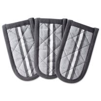 """DII Cotton Stripe Quilted Pan Handle, 6x 3"""" Set of 3, Machine Washable and Heat Resistant for Everyday Kitchen Cooking and Baking-Mineral Gray"""