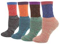 Women's Lady's 4 Pair Pack Vintage Style Colorful Cotton Crew Socks
