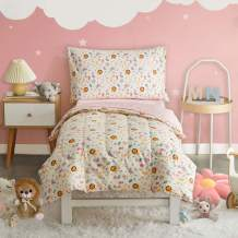 Uozzi Bedding 4 Pieces Toddler Bedding Set Lion White Includes Comforter, Flat Sheet, Fitted Sheet and Pillowcase