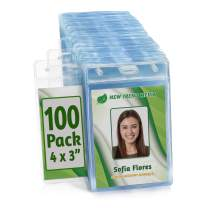 EcoEarth Vertical Name Badge Holders (Large 4x3, 100 Pack) Clear Plastic Pouch for ID Name Tags, Conference Nametag Sleeves, No Zipper for Quick and Easy Loading of Card Inserts