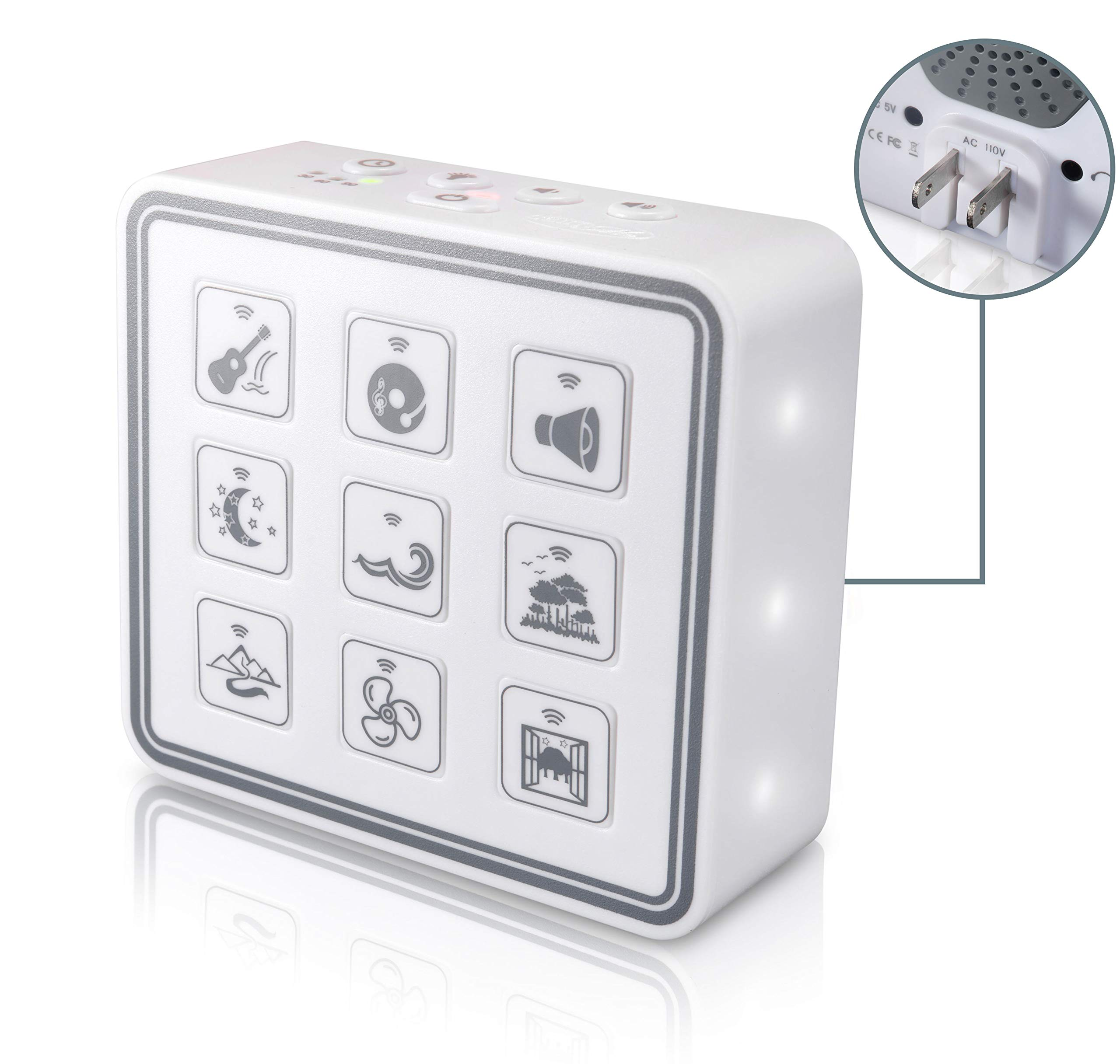 Portable & Compact Plug-In Nightlight White Noise Sound Machine-Relaxing Sleep Therapy for Adults & Baby w/9 Natural Sound Settings, Auto Timer, Headphone Jack & USB Cord – For Home & Travel (white)