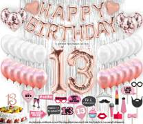 13th Birthday Decorations  With Photo Props 13 Birthday Party Supplies 13 Cake Topper Rose Gold  Happy Birthday Banner  Confetti Balloons Silver Curtain Backdrop Props or Photos Thirteen Teenager Bday