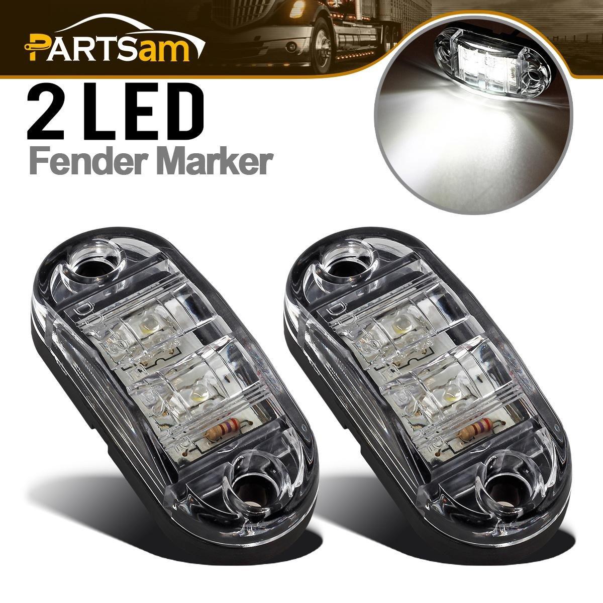 "Partsam 2X Trailer Truck Surface Mount LED Oval 2.5"" White Side Marker Lamp Bulb 2 Diodes, Sealed Oval Trailer Clearance and Side Marker Lights, Boat Marine Led Lights"