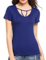 Meaneor Women's Geometric Straps V Neck Short Sleeve T-Shirt Casual Basic Comfy Top