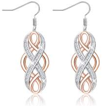 MUSECLOUD Rose Gold Plated Celtic Knot Dangle Earrings 925 Sterling Silver Infinity Earrings Good Luck Irish Celtic Eternity Knot Earrings Minimalist Jewelry For Women