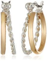 "Napier ""Napier Classics"" Two-Tone Click Top Hoop Earrings"