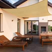 Pamapic 10' x 13' Shade Sails Rectangle Sun Shade Sail Canopy for Patio Garden, Outdoor, Restaurant, Backyard (Sand)
