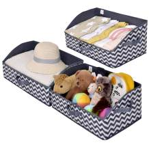 GRANNY SAYS Storage Bins, Kid's Closet Organizer Bins, Trapezoid Nursery Storage Organizer Toy Storage Baskets, Dark Gray and White, Jumbo, 3-Pack