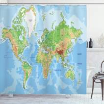 "Ambesonne World Map Shower Curtain, Topographic Map of The World Continents Countries Oceans Mountains Educational, Cloth Fabric Bathroom Decor Set with Hooks, 70"" Long, Blue Green"
