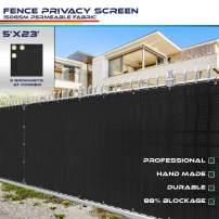 Windscreen4less Heavy Duty Privacy Screen Fence in Color Solid Black 5' x 23' Brass Grommets w/3-Year Warranty 150 GSM (Customized Size)