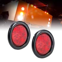 """2pc 4"""" Round Red LED Trailer Tail Lights [DOT Certified] [Grommet & Plug Included] [IP67 Waterproof] Turn Stop Brake Trailer Lights for RV Trucks"""