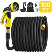 "ACSTEP Garden Hose 2020 Upgrade Patent Leak-Proof Reusable Design 100FT Expandable Water Hose with 9-Function High-Pressure Spray Nozzle, Heavy Duty Flexible Hose, 3/4"" Solid Brass Fittings Black"