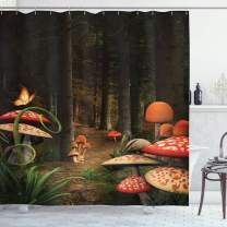 """Ambesonne Mushroom Shower Curtain, Mushrooms in Deep Dark Forest Fantasy Nature Theme Earth Path Mystical Image, Cloth Fabric Bathroom Decor Set with Hooks, 84"""" Long Extra, Pomegranate Green"""