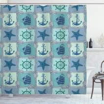 """Ambesonne Ships Wheel Shower Curtain, Nautical Patchwork Pattern with Rope Starfish Sailing Ship Anchor and Wheel, Cloth Fabric Bathroom Decor Set with Hooks, 84"""" Long Extra, Turquoise"""