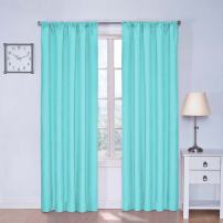 """ECLIPSE Kendall Thermal Insulated Single Panel Rod Pocket Darkening Curtains for Living Room, 42"""" x 54"""", Pool"""