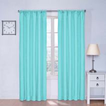 "ECLIPSE Kendall Thermal Insulated Single Panel Rod Pocket Darkening Curtains for Living Room, 42"" x 54"", Pool"