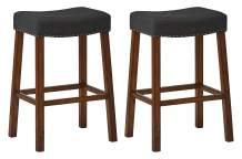"Amazon Brand – Ravenna Home Dawn Nailhead Saddle Bar Stool, 30""H, Cherry with Black Fabric (2 Pack)"