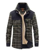 KEDERA Men's Plaid Sherpa Lined Shirt Jacket Long Sleeve Winter Flannel Fleece Coats