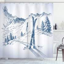 """Ambesonne Winter Shower Curtain, Sketchy Graphic of a Downhill with Ski Elements in Snow Relax Calm View, Cloth Fabric Bathroom Decor Set with Hooks, 75"""" Long, White Blue"""