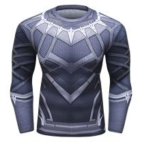 Red Plume Men's Compression Sports Shirt Panthers Running Long Sleeve Tee/3 Colors