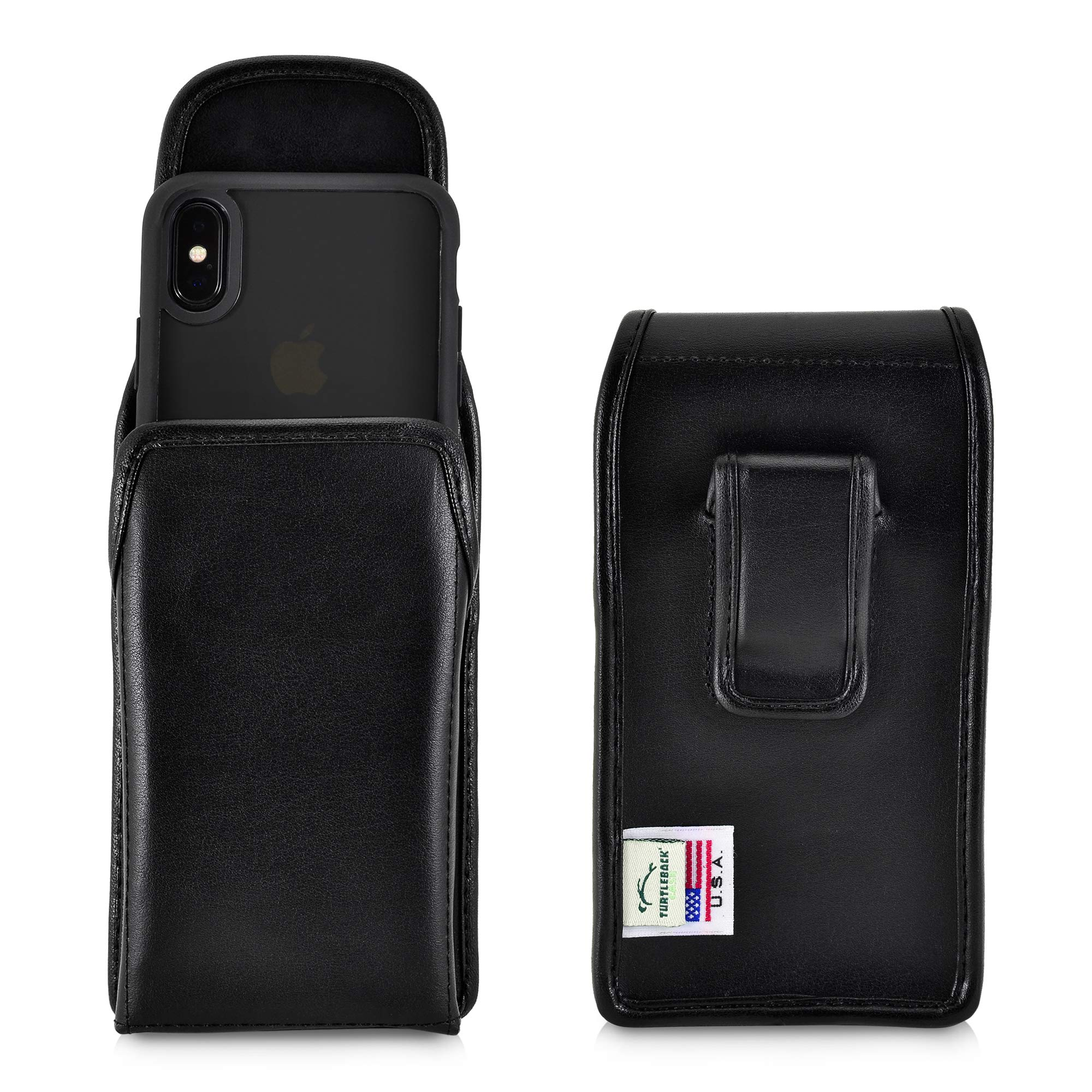 Turtleback Holster Designed for iPhone 11 Pro (2019) iPhone Xs (2018) and iPhone X (2017) Vertical Belt Case Black Leather Pouch with Executive Belt Clip, Made in USA