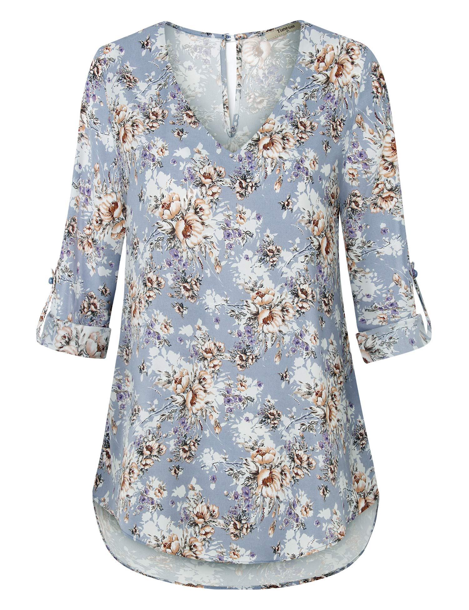 Timeson Women's V Neck Chiffon Blouses 3/4 Sleeve Button Down Tunics Tops