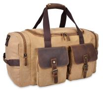 Altosy Canvas Duffel Bag Mens Genuine Leather Travel Bag Overnight Weekend Bags 5322 (New Khaki)
