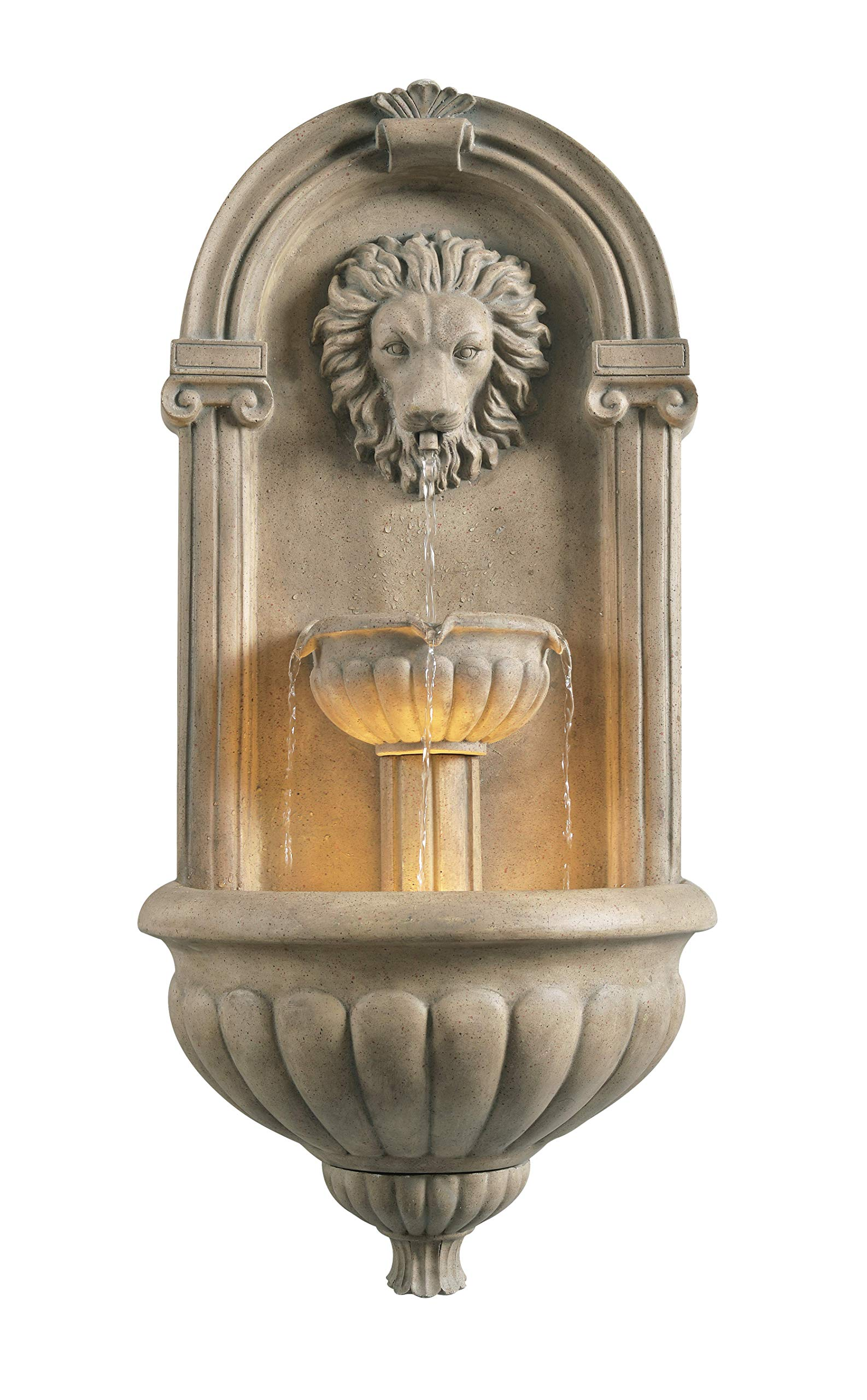 Kenroy Home 51043SNDST Royal Wall Fountain with Light, Sandstone Finish