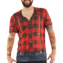 Faux Real Men's 3D Photo-Realistic Long Sleeve Mesh Tattoo Tee Shirt