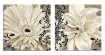 SEVEN WALL ARTS - 2 Piece Vintage Elegant Blossom Flowers Canvas Print Modern Decorative Artwork Floral Art Set for Bedroom Living Room Office Home Decor 24 x 24 Inch x 2 Pcs