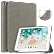 Soke iPad 9.7 2018/2017 Case with Pencil Holder, Slim Fit Smart Case Trifold Stand with Shockproof Soft TPU Back Cover and Auto Sleep/Wake Function for iPad 9.7 inch 5th/6th Generation, Tan