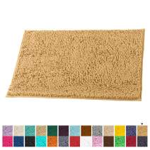 LuxUrux Bath Mat-Extra-Soft Plush Bath Shower Bathroom Rug,1'' Chenille Microfiber Material, Super Absorbent Shaggy Bath Rug. Machine Wash & Dry (15 x 23, Marzipan)