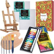 MEEDEN 21-Piece Acrylic Painting Set with Tabletop H-Frame Easels, 12×12MLAcrylic Paints, 2 Canvas Panels & Accessories, Art Painting Kit for Beginners, Students & Little Artist