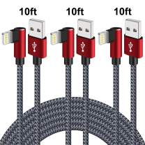 90 Degree Lightning Cable 10ft iPhone Charger Cable 3 Pack Right Angle Fast Charging Cable iPhone USB Data Cable Nylon Braided Fast Charge Cord Compatible with iPhone Xs MAX XR X 8 7 (Gray Red,10ft)